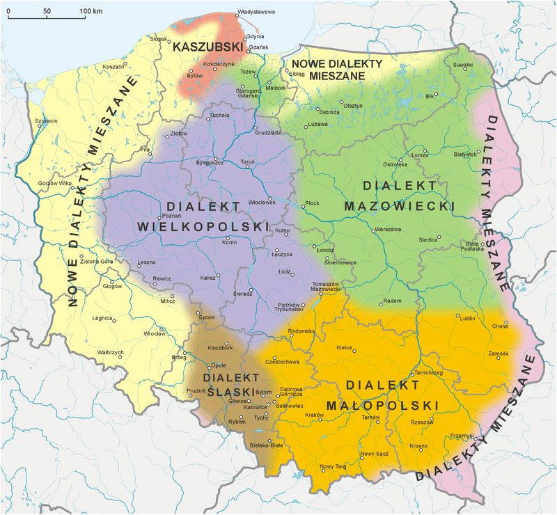dialects in Poland, Polish language and translations